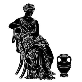 고대 그리스 여인은 와인 한 병 근처의 의자에 앉는다. 검은 실루엣 흰색 배경에 고립.
