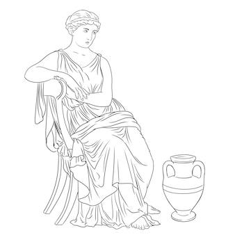 고대 그리스 여인은 와인 한 병 근처의 의자에 앉는다. 흰색 배경에 고립 된 그림입니다.