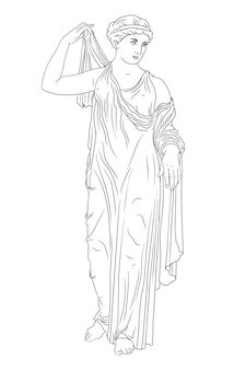 An ancient greek woman stands and puts on a dress.