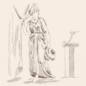 An ancient greek woman stands with a jug in her hands near the curtains.