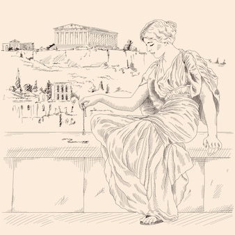 An ancient greek woman in a tunic sitting on a stone parapet against the backdrop of the landscape of the city of athens and holds a jewelry in her hand.