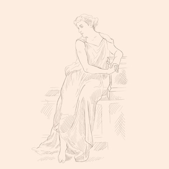 An ancient greek woman in a tunic sitting on a stone parapet. vector image on beige background.