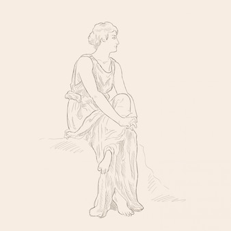 An ancient greek woman in a tunic sitting with his arms crossed. vector image isolated on beige background.