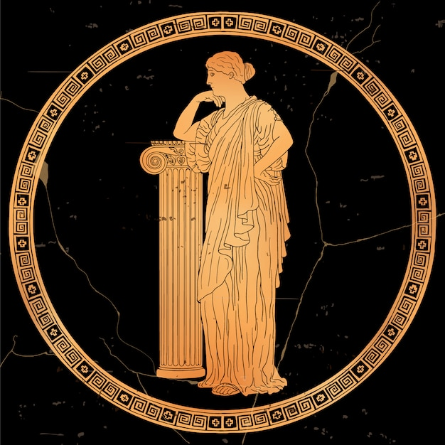 An ancient greek woman in a tunic stands and leans on a stone pedestal. vector image isolated on white background.