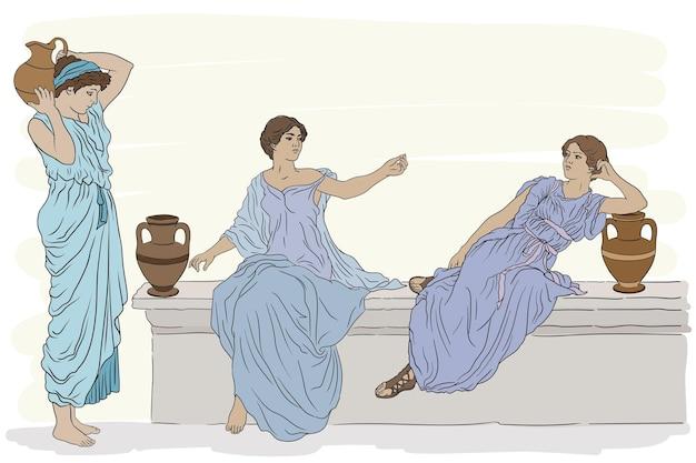 점토 주전자가 달린 튜닉을 입은 고대 그리스 여성들이 서로 이야기하고 있습니다.