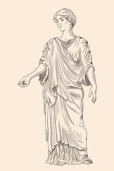 An ancient greek young woman in a tunic and cape stands looks away and gestures. antique engraving.