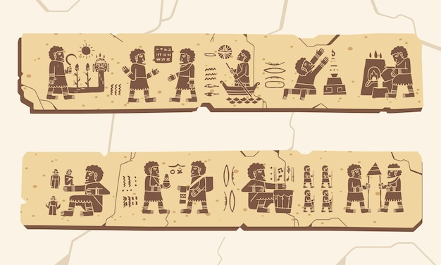 古代の人間文化のベクトル図を伝える古代の象形文字のアーティファクト