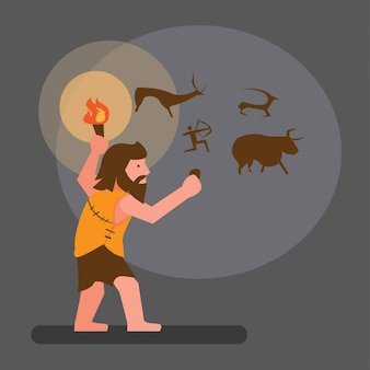 Ancient human drawing in cave flat illustration