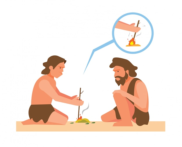 Ancient human making fire from rubbing twig illustration