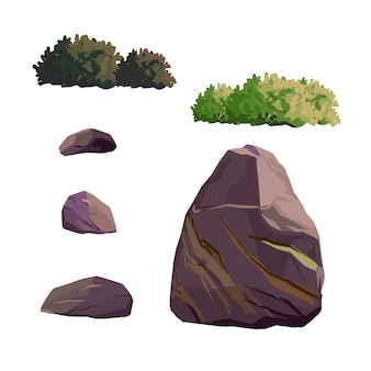 Ancient japan culture objects set with garden decorative stone and bush isolated vector illustration. japan vector set collection.