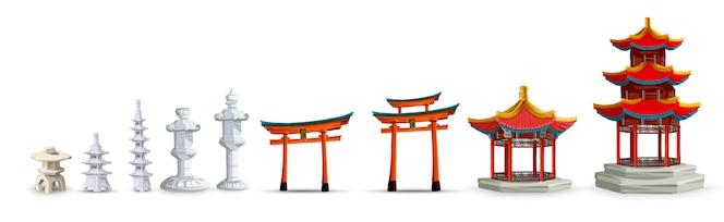 ゲート、塔、寺院、庭、日本のランタン分離イラスト入り古代日本文化オブジェクト。日本セットコレクション