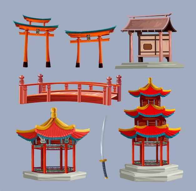 Ancient japan culture objects set with japanese gate, tory, red bridge and pagoda isolated vector illustration. japan vector set collection