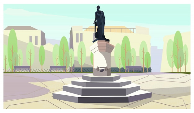 Ancient king with sword monument on stand illustration