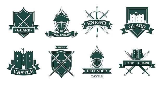 Ancient knight or fighter monochrome flat sign set. medieval emblem and shield with warrior armor, helmet, swords or castle vector illustration collection. mascot, military and ancient army