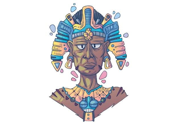 古代マヤの司祭。創造的な漫画のイラスト。