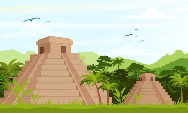 Ancient mayan pyramids in the jungle in daytime in flat cartoon style.