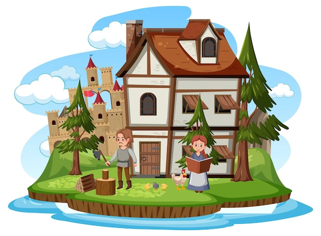 Ancient medieval house with people on white background