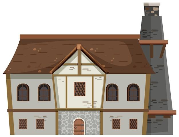Древняя средневековая усадьба на белом фоне