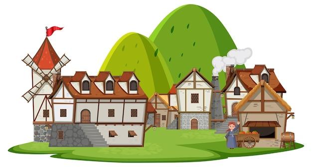 Древняя средневековая деревня, изолированные на белом фоне