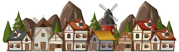 Древняя средневековая деревня на белом фоне