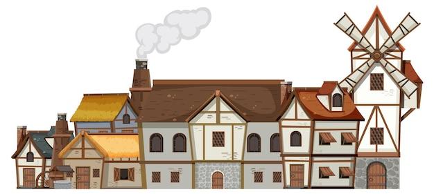 白い背景の上の古代中世の村