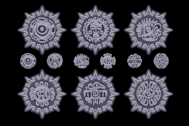 Ancient mexican mythology symbols isolated on stone amulet. american aztec, mayan culture native totem. vector icons. objects on a separate layer.