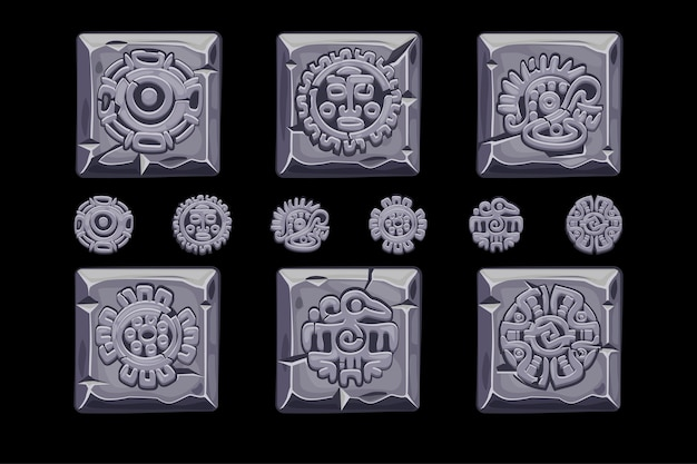 Ancient mexican mythology symbols isolated on stone square.
