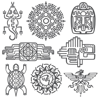Ancient mexican vector mythology symbols