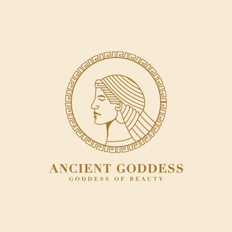 Ancient monoline aphrodite greek goddess of beauty and love face logo for spa salon yoga brand