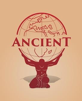 Древний мускулистый греческий бог-атлант с огромной силой держит земной шар на плечах