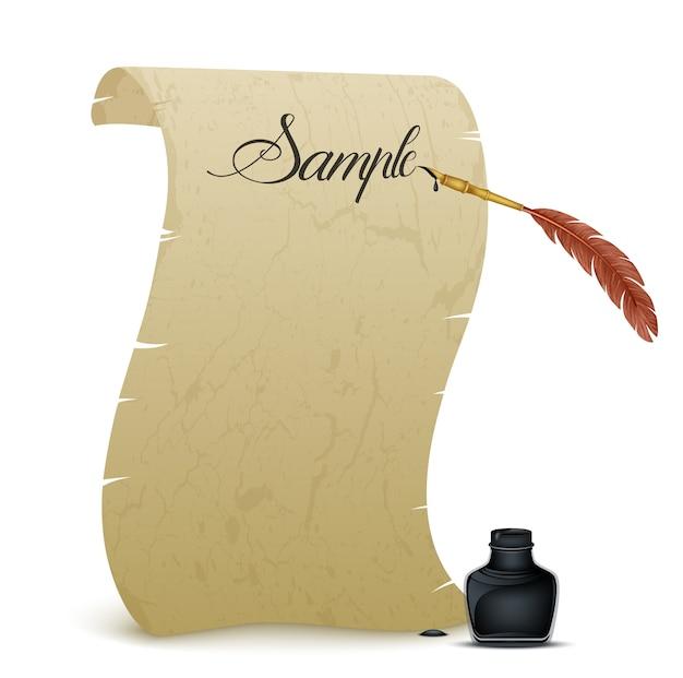 Древний пергамент с пером и чернильницей