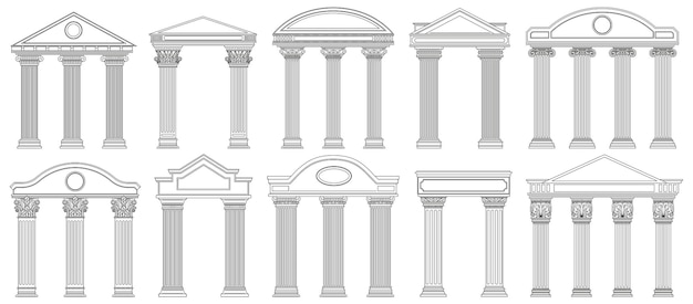 Ancient pediments. greek and roman architecture temple facade with ancient pillars set