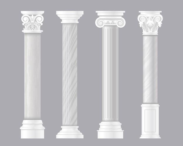 Древние столбы. архитектурный набор римских или греческих классических мраморных колонн, античных колонн