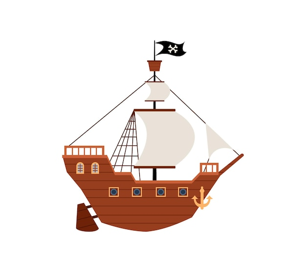 Ancient pirate or filibusters ship flat cartoon vector illustration isolated