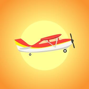 太陽の前で空を飛んでいる古代の飛行機。