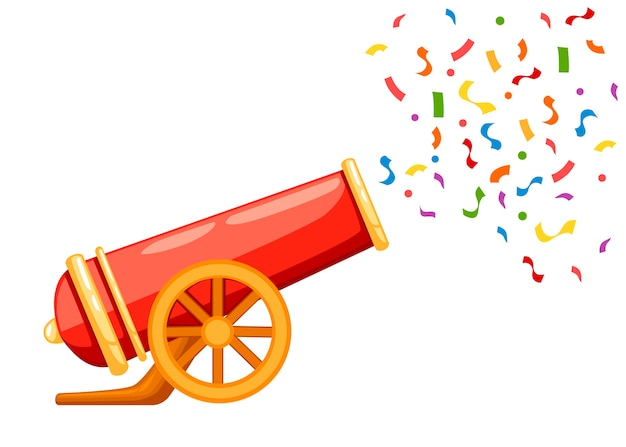 Ancient red cannon shots confetti illustration
