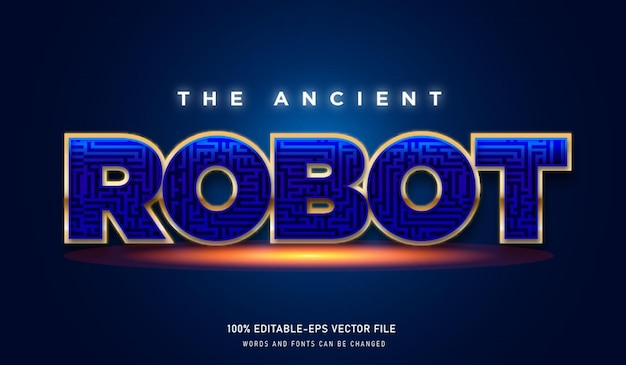 The ancient robot text effect and editable font