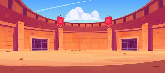 剣闘士の戦いのための古代ローマの舞台