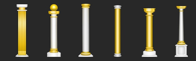 Ancient roman columns, gold and white marble architecture decor.