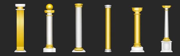 Antiche colonne romane, decorazioni architettoniche in marmo bianco e oro.