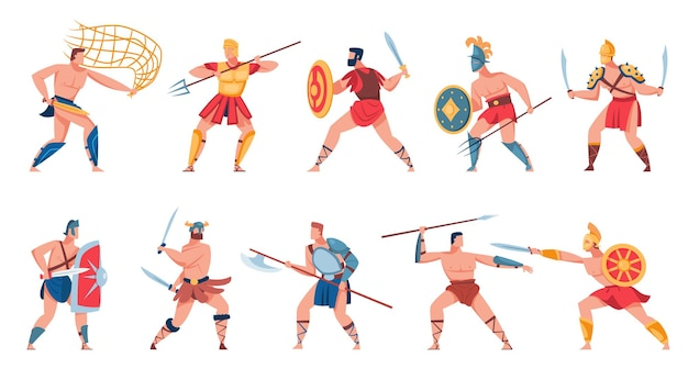 Ancient roman soldiers set. flat illustration
