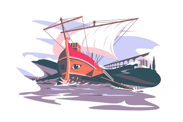 Ancient rome boat composition vector illustration colosseum and famous building flat style world landmark architecture and travel concept isolated