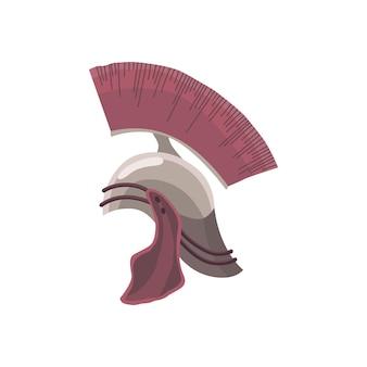 벡터에 문장이 있는 고대 로마 백부장 헬멧. 고대 전사의 머리 보호. 투사를 위한 보안 장비 요소