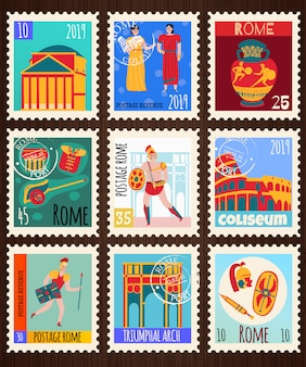 Ancient rome empire postage stamps set