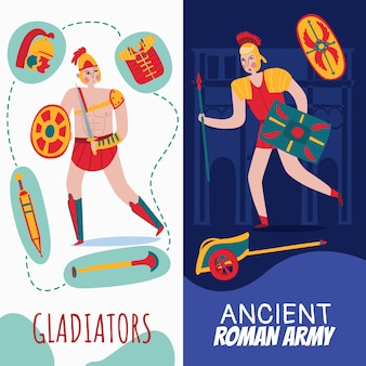 Ancient rome empire vertical banners set with warriors