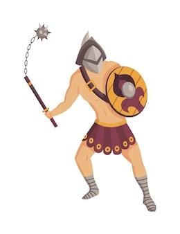 고대 로마 검투사. 메이스와 방패가있는 갑옷의 로마 전사 캐릭터
