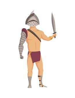 고대 로마 검투사. 칼으로 갑옷에 벡터 로마 전사 캐릭터입니다. 만화 스타일의 평면 그림입니다. 전투 준비가 된 전투원.