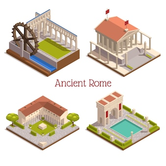 Ancient  rome  landmarks  4  isometric  composition  with  forum  pantheon  triumphal  arch  wooden  watermill  wheel  aqueduct    illustration