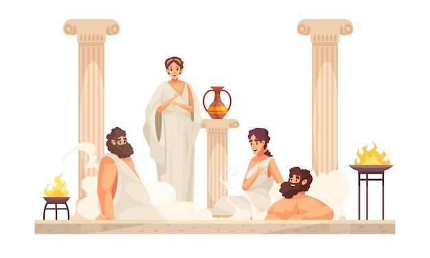 Люди древнего рима в белых туниках сидят в термальной ванне мультфильм