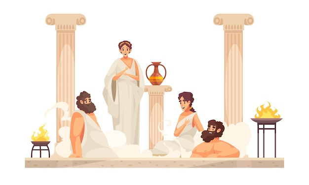 Ancient rome people wearing white tunics sitting in thermal bath cartoon